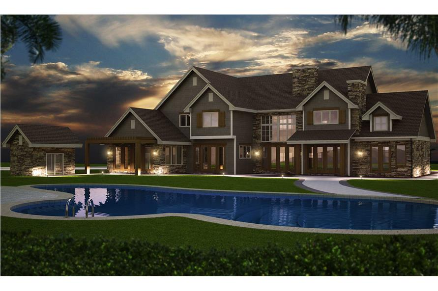 Home Plan Rear Elevation of this 6-Bedroom,5164 Sq Ft Plan -161-1003