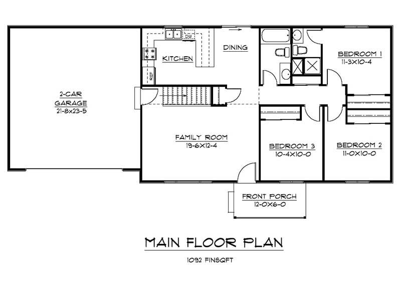 Ranch Home Plan 3 Bedrms 2 Baths 2184 Sq Ft 161 1010