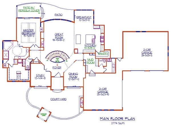 Floor Plan First Story for luxury house plans Cerreta