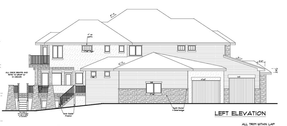161-1028 house plan left elevation