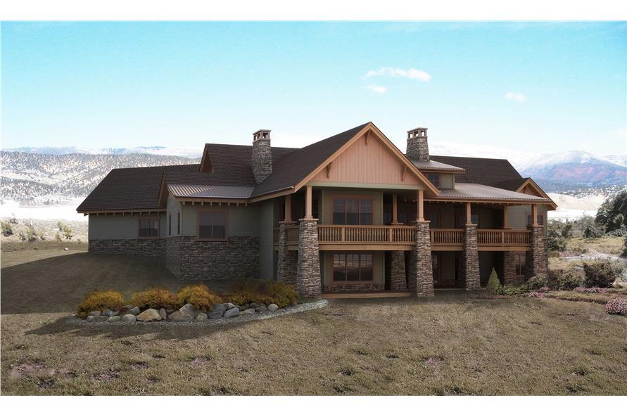 Home Plan Rear Elevation of this 5-Bedroom,5723 Sq Ft Plan -161-1031