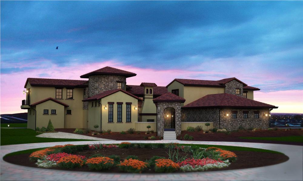 This is the front elevation for these Tuscan Home Plans.