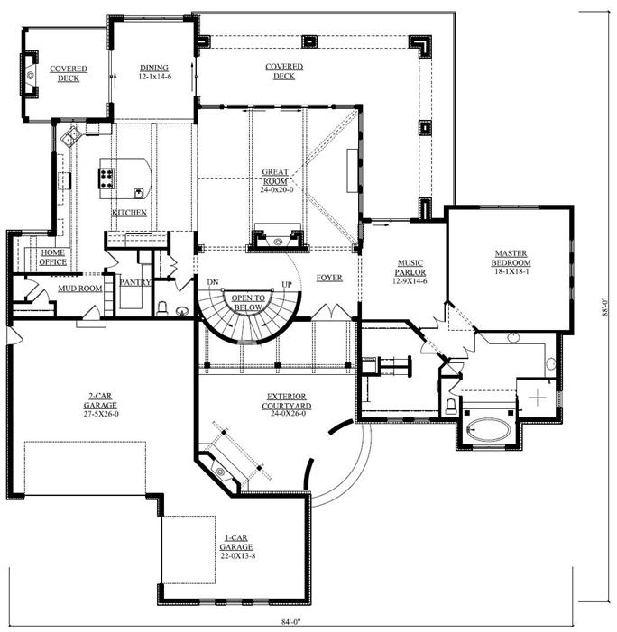 Luxury house plan 5 bedrms 45 baths 6037 sq ft 161 1037 floor plan first story malvernweather Images