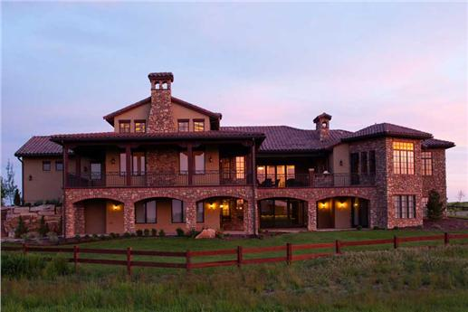 This is the front elevation for these Tuscan House Plans.