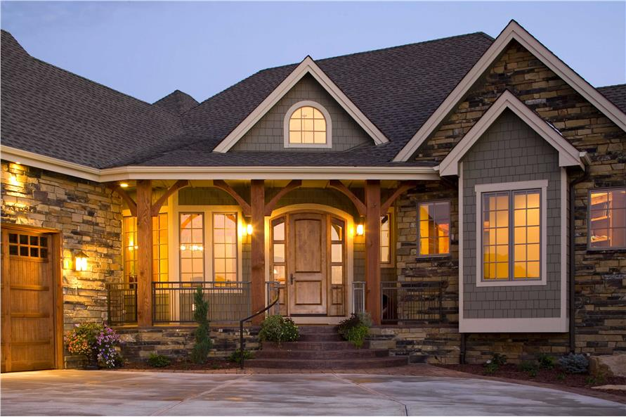 Home Exterior Photograph for these luxury house plans.