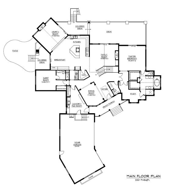Floor Plan First Story for these Luxury House Plans.