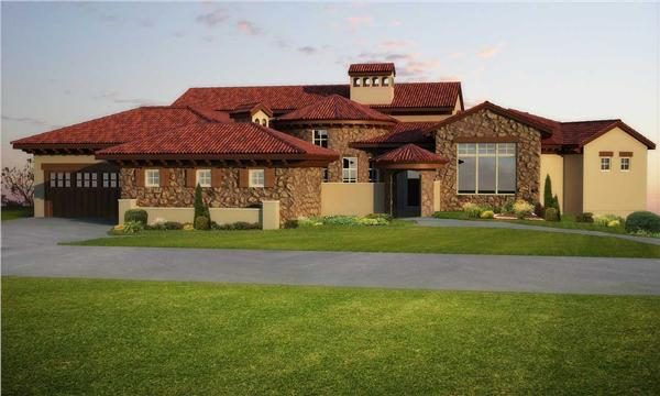 This is a computerized rendering for these Tuscan House Plans.