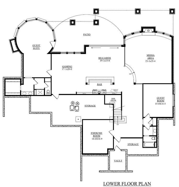 ... Floor Plan Basement Of Craftsman Plan #161 1044
