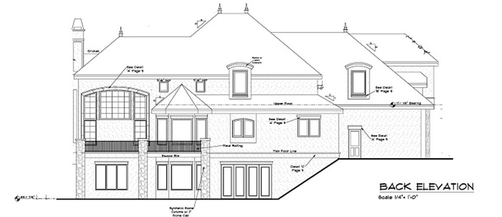 161-1047: Home Plan Rear Elevation