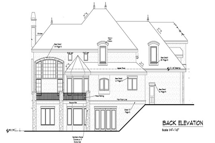 Home Plan Rear Elevation of this 5-Bedroom,5613 Sq Ft Plan -161-1047