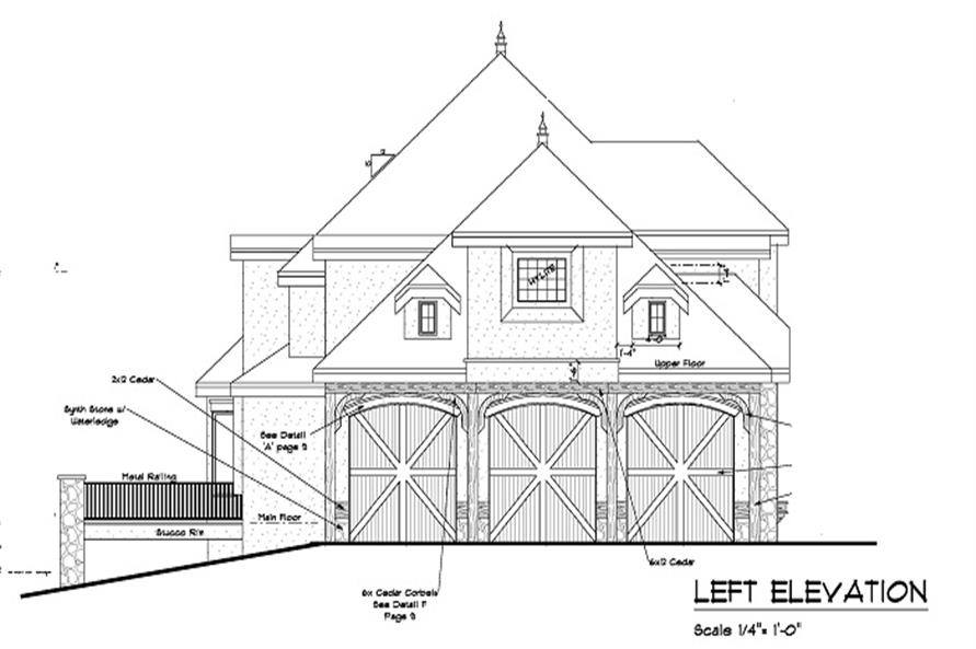 Home Plan Left Elevation of this 5-Bedroom,5613 Sq Ft Plan -161-1047