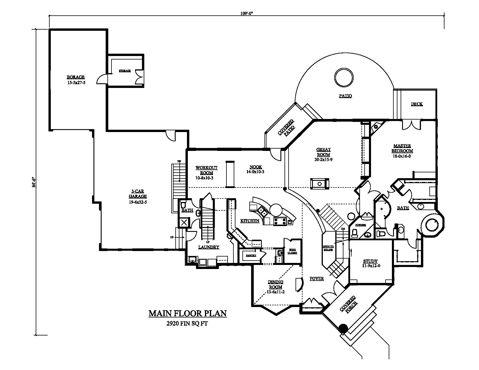 161-1048 house plan main floor
