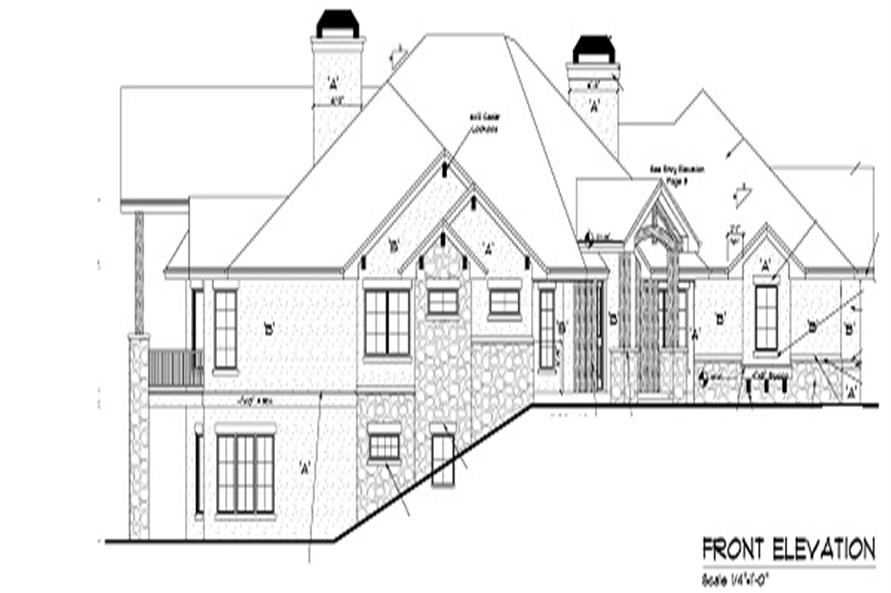 Home Plan Front Elevation of this 4-Bedroom,4936 Sq Ft Plan -161-1049