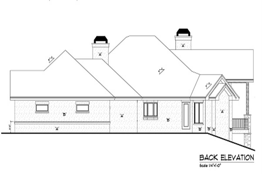 Home Plan Rear Elevation of this 4-Bedroom,4936 Sq Ft Plan -161-1049