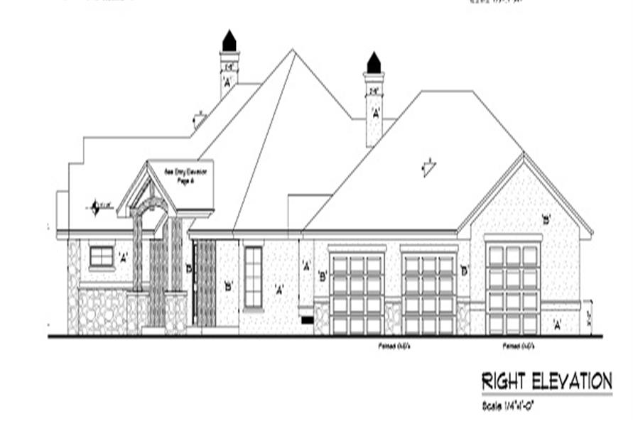 Home Plan Right Elevation of this 4-Bedroom,4936 Sq Ft Plan -161-1049
