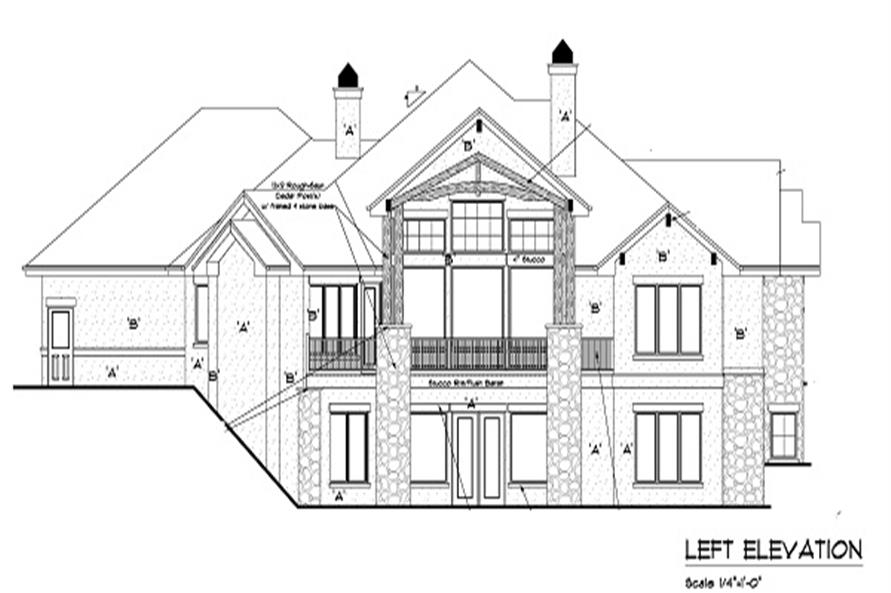 Home Plan Left Elevation of this 4-Bedroom,4936 Sq Ft Plan -161-1049