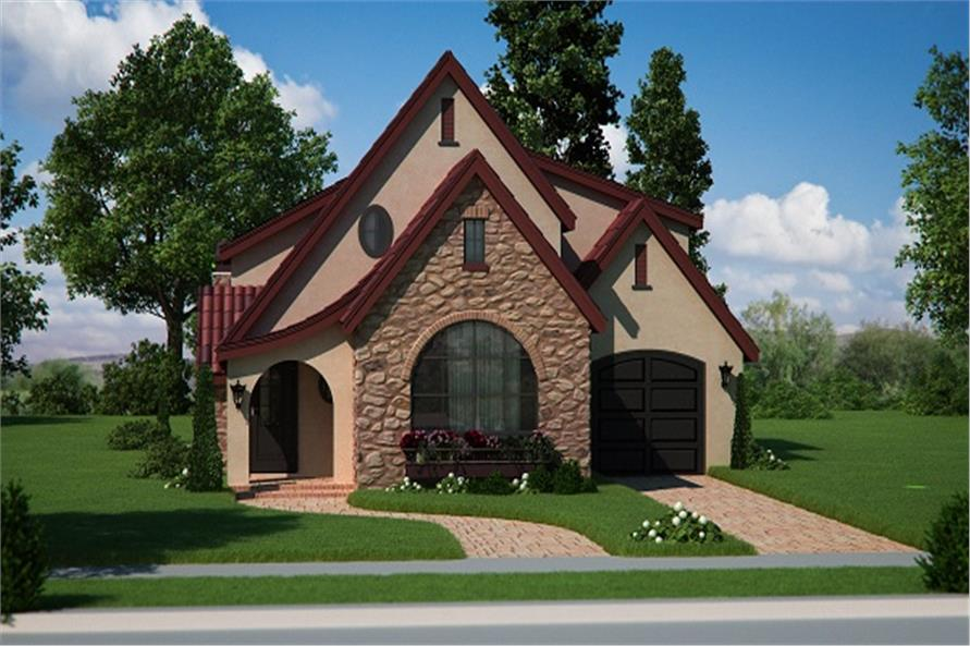 Front elevation of Bungalow home (ThePlanCollection: House Plan #161-1050)