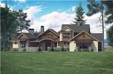 Front elevation of Luxury home (ThePlanCollection: House Plan #161-1066)