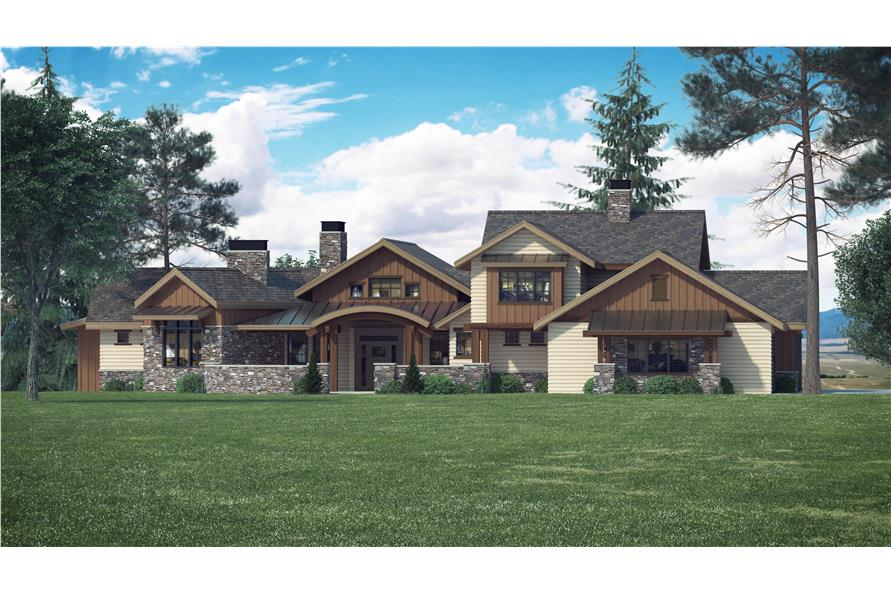 4-Bedroom, 3998 Sq Ft Luxury House Plan - 161-1066 - Front Exterior