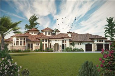 Front elevation of Luxury home (ThePlanCollection: House Plan #161-1069)