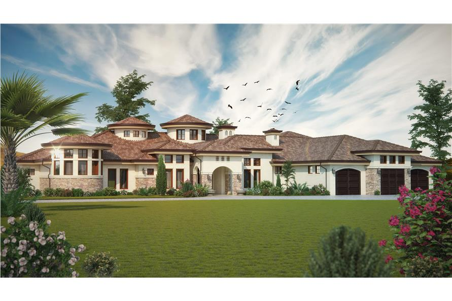 4-Bedroom, 4660 Sq Ft Luxury House Plan - 161-1069 - Front Exterior