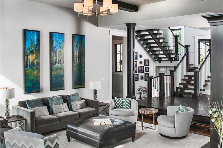 161-1077: Home Plan Rendering-Living Room