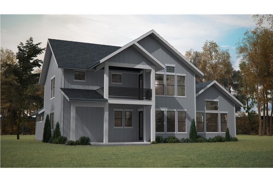 Home Plan Rear Elevation of this 4-Bedroom,2726 Sq Ft Plan -161-1087
