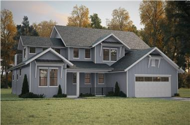 Photo-realistic rendering of Country home plan (ThePlanCollection: House Plan #161-1087)