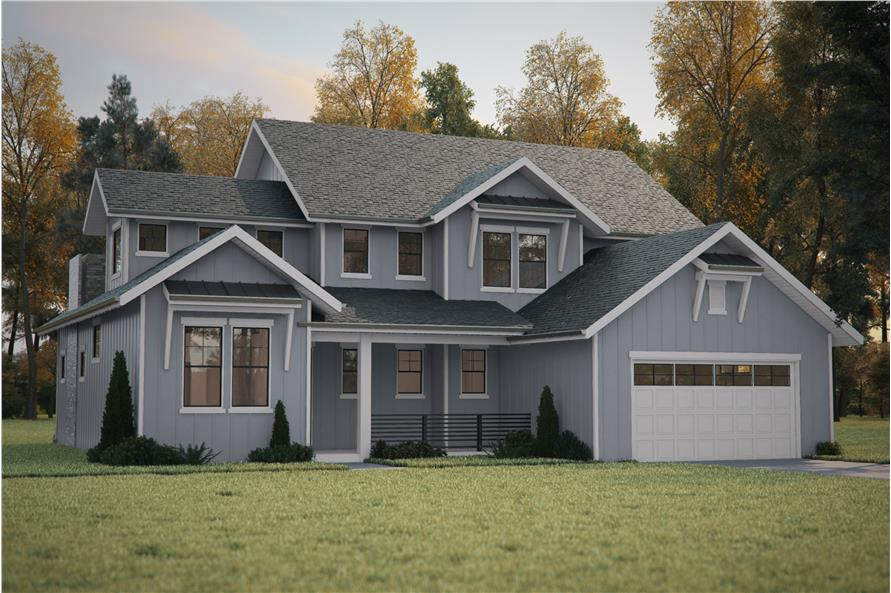 4-Bedroom, 2726 Sq Ft Country House Plan - 161-1087 - Front Exterior
