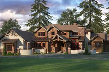 3-Bedroom, 3446 Sq Ft Country House Plan - 161-1095 - Front Exterior