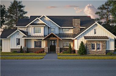 4-Bedroom, 2679 Sq Ft Craftsman Home Plan - 161-1105 - Main Exterior