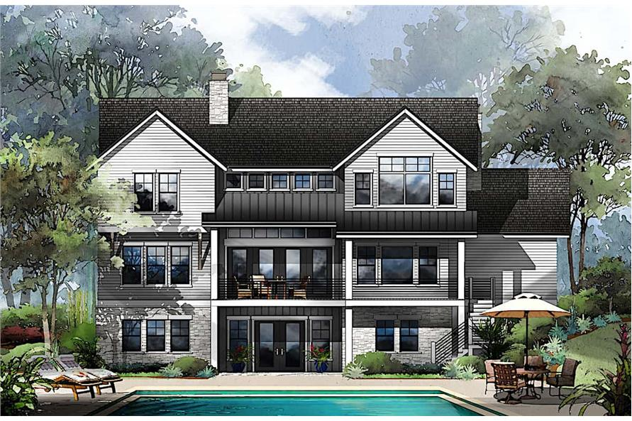 Rear View of this 4-Bedroom,3799 Sq Ft Plan -161-1130