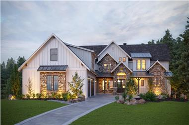 6-Bedroom, 4966 Sq Ft Farmhouse Home Plan - 161-1148 - Main Exterior