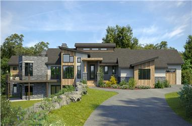2-5-Bedroom, 2871–5742 Sq Ft Contemporary House - Plan #161-1158 - Front Exterior