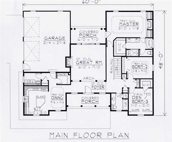 House Plan RDI-1809R1-B Main Floor Plan