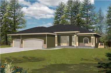 3-Bedroom, 2803 Sq Ft Contemporary House Plan - 162-1001 - Front Exterior