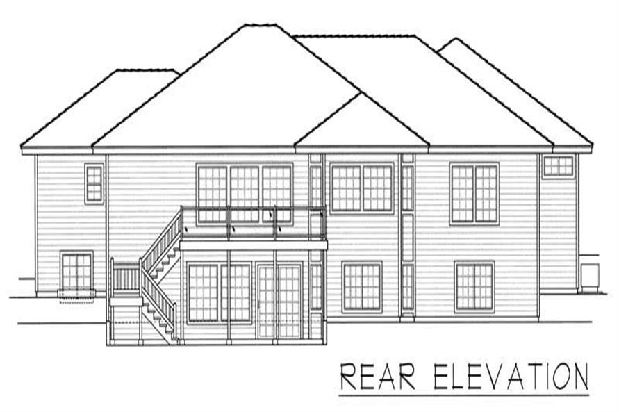 Home Plan Rear Elevation of this 1-Bedroom,4823 Sq Ft Plan -162-1003
