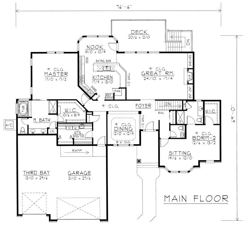 House Plan RDI-2583R1-DB Main Floor Plan