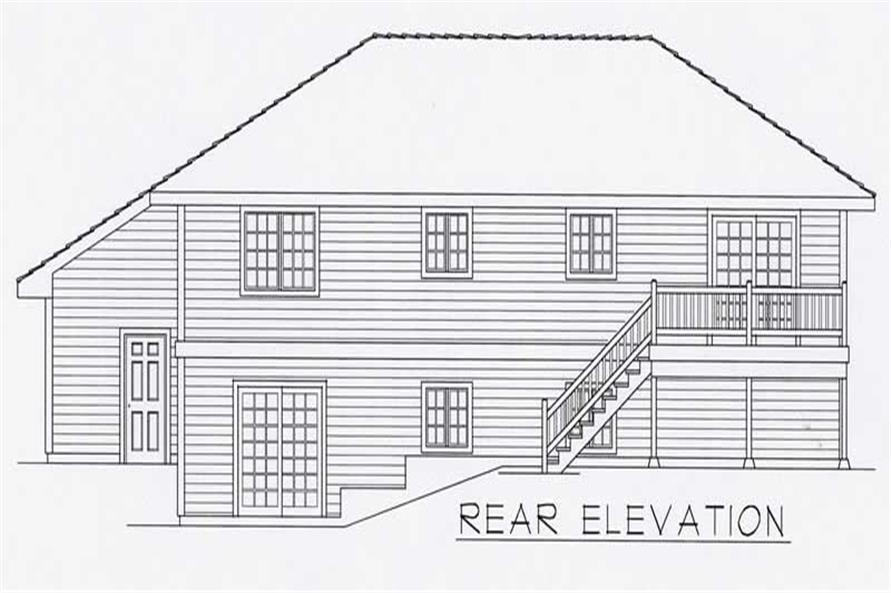 Home Plan Rear Elevation of this 3-Bedroom,1356 Sq Ft Plan -162-1005