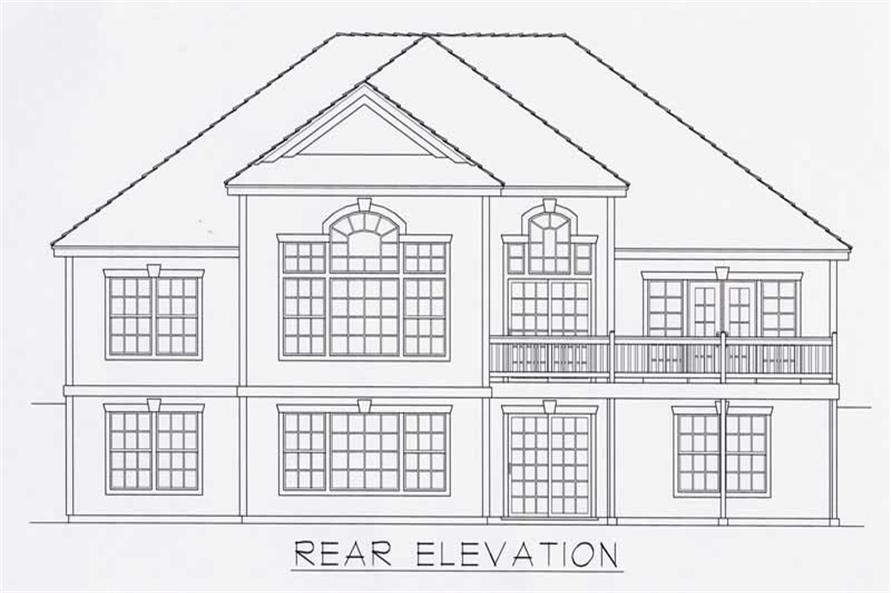 Home Plan Rear Elevation of this 4-Bedroom,3538 Sq Ft Plan -162-1008