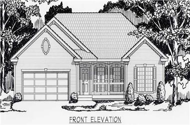 3-Bedroom, 1368 Sq Ft Country Home Plan - 162-1009 - Main Exterior
