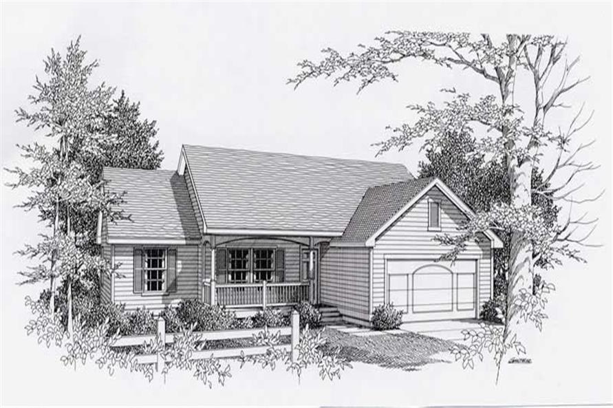 3-Bedroom, 1497 Sq Ft Country Home Plan - 162-1011 - Main Exterior