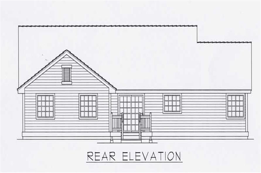 Home Plan Rear Elevation of this 3-Bedroom,1497 Sq Ft Plan -162-1011