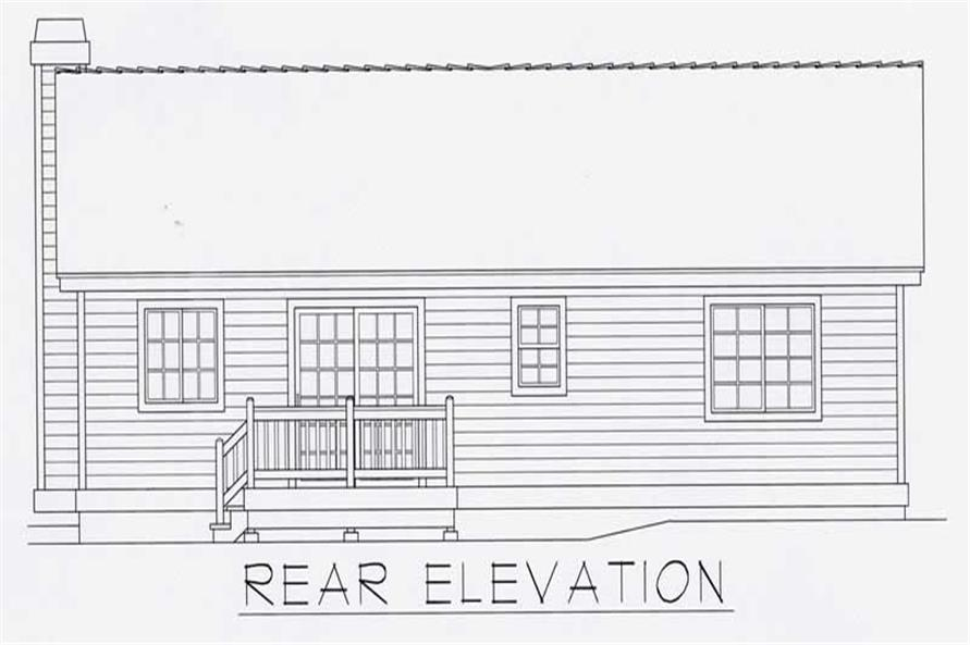 Home Plan Rear Elevation of this 2-Bedroom,1080 Sq Ft Plan -162-1012