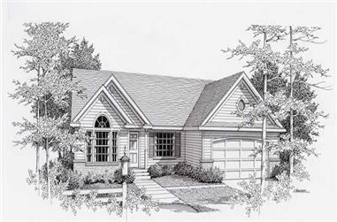 3-Bedroom, 1512 Sq Ft Country Home Plan - 162-1013 - Main Exterior