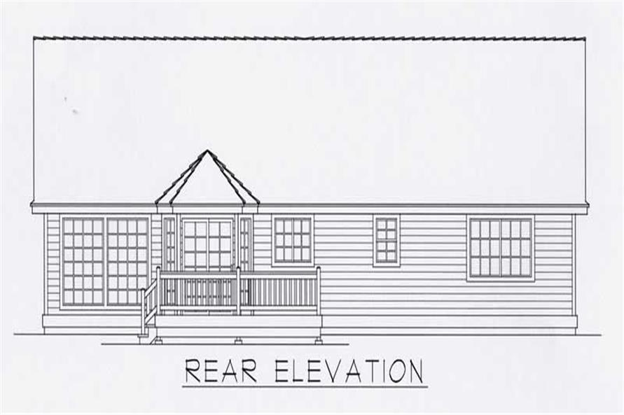 Rear Elevation of this 3-Bedroom,1512 Sq Ft Plan -1512
