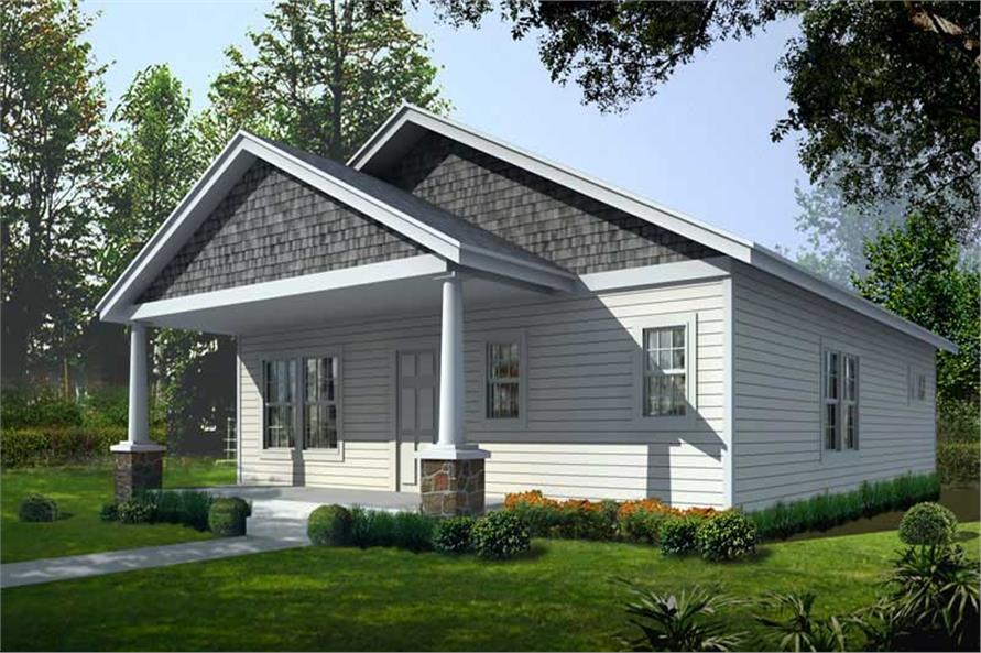 Front elevation of Bungalow home (ThePlanCollection: House Plan #162-1015)