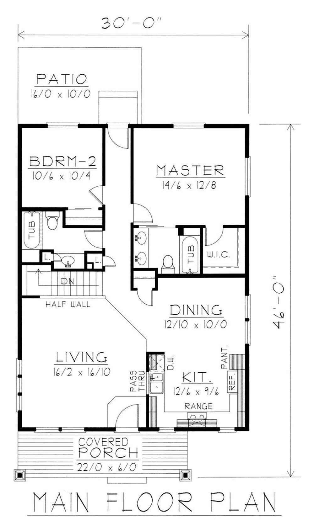 House Plan RDI-1200R1-B Main Floor Plan
