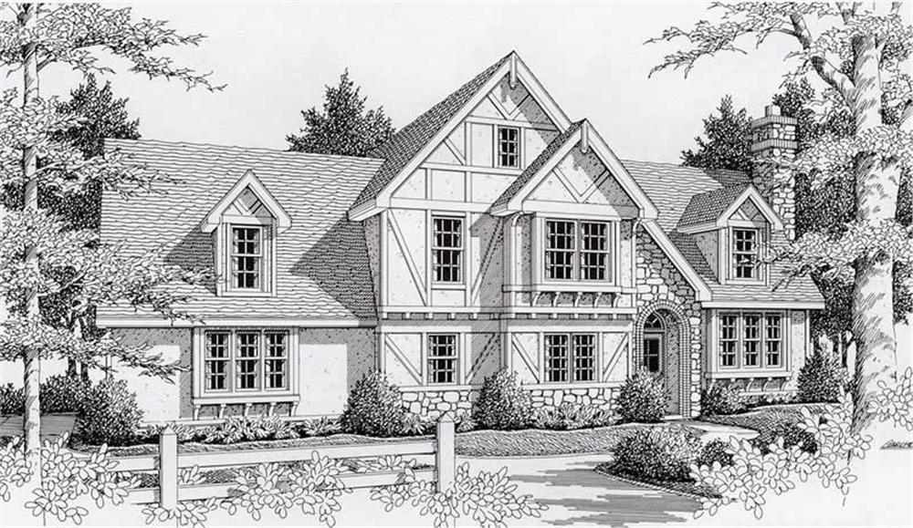 Front elevation of Tudor home (ThePlanCollection: House Plan #162-1017)