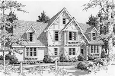 3-Bedroom, 1935 Sq Ft Tudor Home Plan - 162-1017 - Main Exterior